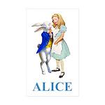 Alice and the White Rabbit Sticker (Rectangle 50 p
