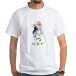 Alice and the White Rabbit White T-Shirt