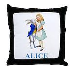Alice and the White Rabbit Throw Pillow