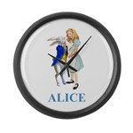 Alice and the White Rabbit Large Wall Clock