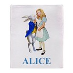 Alice and the White Rabbit Throw Blanket