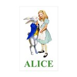 Alice and the White Rabbit Sticker (Rectangle 50 p