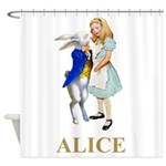 Alice and the White Rabbit Shower Curtain
