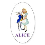 Alice and the White Rabbit Sticker (Oval 50 pk)