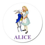 Alice and the White Rabbit Round Car Magnet