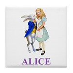 Alice and the White Rabbit Tile Coaster