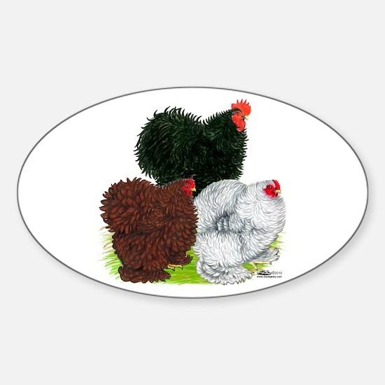 Frizzle Cochin Trio Sticker (Oval)