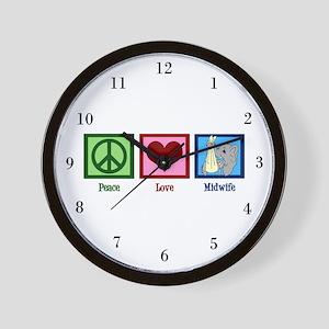 Peace Love Midwife Wall Clock