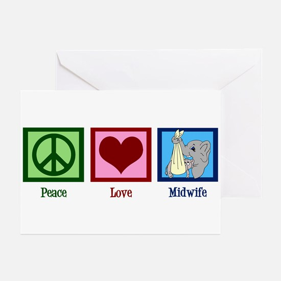 Peace Love Midwife Greeting Cards (Pk of 20)