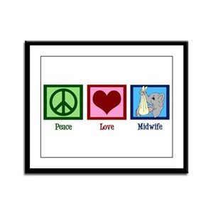 Peace Love Midwife Framed Panel Print