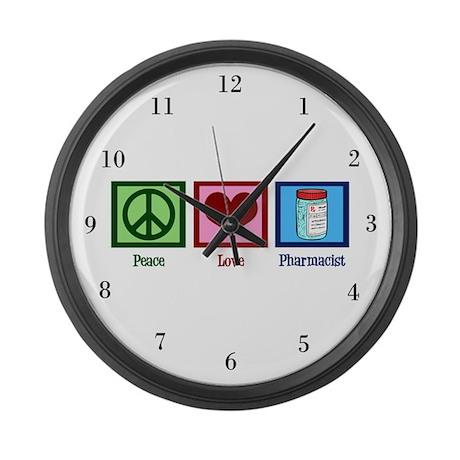 Peace Love Pharmacist Large Wall Clock