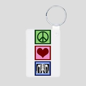 Peace Love Radiology Aluminum Photo Keychain