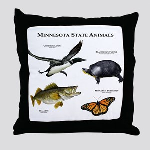 Minnesota State Animals Throw Pillow