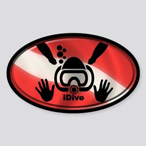idive flag 3x5 Sticker (Oval)