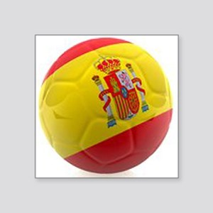 "Spain world cup soccer ball Square Sticker 3"" x 3"""