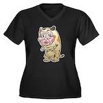 Grandma cat Women's Plus Size V-Neck Dark T-Shirt