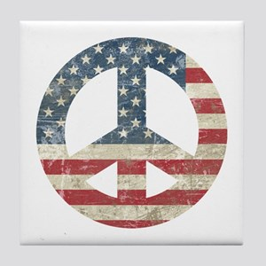 Vintage Peace In America Tile Coaster