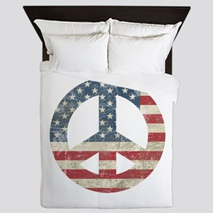 Vintage Peace In America Queen Duvet