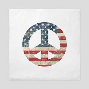 Vintage Peace In America Queen Duvet