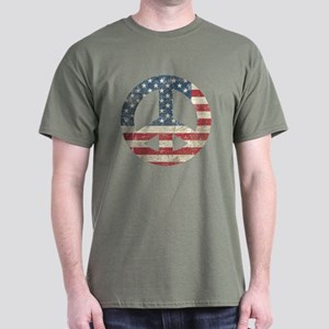 Vintage Peace In America Dark T-Shirt
