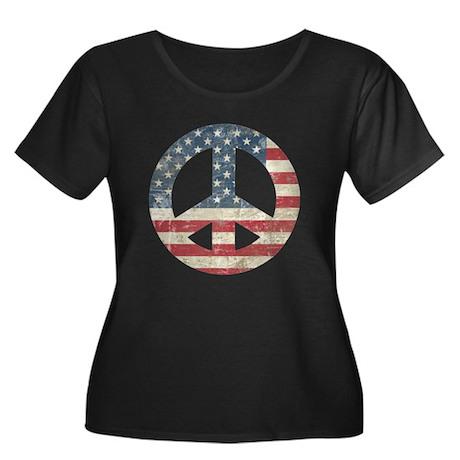 Vintage Peace In America Women's Plus Size Scoop N