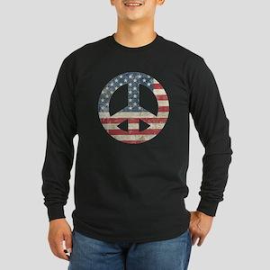 Vintage Peace In America Long Sleeve Dark T-Shirt