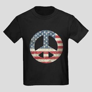 Vintage Peace In America Kids Dark T-Shirt