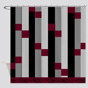 Burgundy Gray Shower Curtains