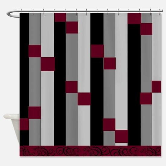 Burgundy Gray Shower Curtains Cafepress