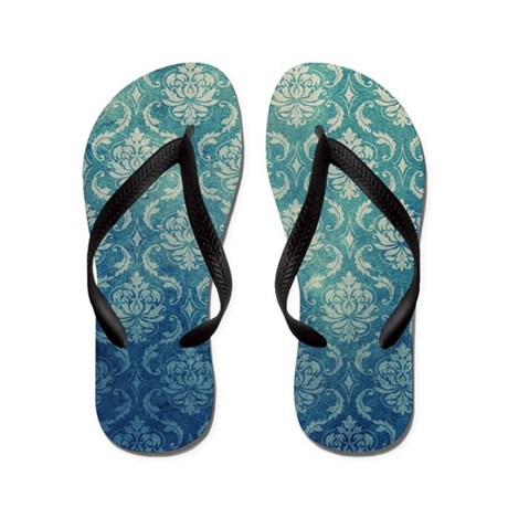 Blueberry Damask Flip Flops