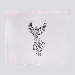 black-phoenix-bird Throw Blanket