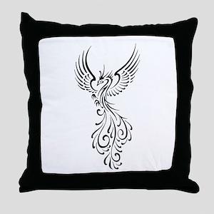black-phoenix-bird Throw Pillow