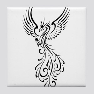 black-phoenix-bird Tile Coaster