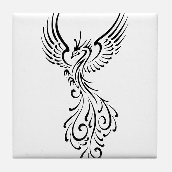 black-phoenix-bird.png Tile Coaster