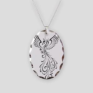 black-phoenix-bird Necklace Oval Charm