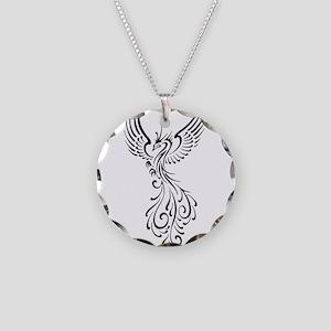 black-phoenix-bird Necklace Circle Charm