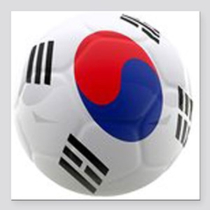 South Korea world cup soccer ball Square Car Magne