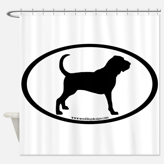 oval sticker bloodhound.png Shower Curtain