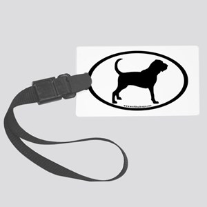 oval sticker bloodhound Large Luggage Tag