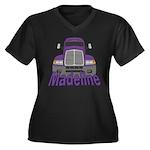 Trucker Madeline Women's Plus Size V-Neck Dark T-S