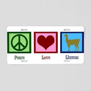 Peace Love Llamas Aluminum License Plate