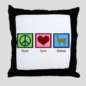 Peace Love Llamas Throw Pillow