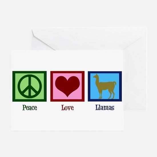 Peace Love Llamas Greeting Card