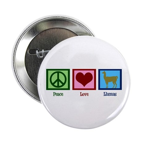 "Peace Love Llamas 2.25"" Button"