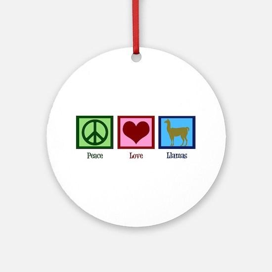 Peace Love Llamas Ornament (Round)
