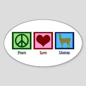 Peace Love Llamas Sticker (Oval)