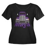 Trucker Maya Women's Plus Size Scoop Neck Dark T-S