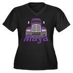 Trucker Maya Women's Plus Size V-Neck Dark T-Shirt
