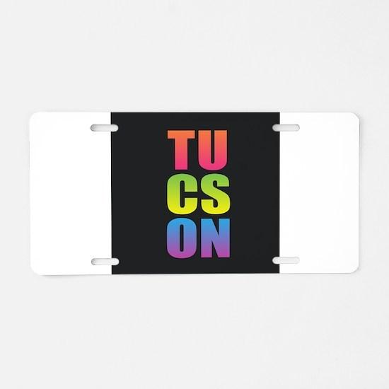 Tucson Black Rainbow Aluminum License Plate