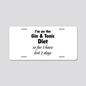 Gin & Tonic Diet Aluminum License Plate